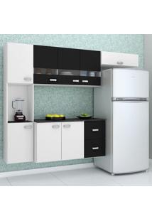 Cozinha Compacta Julia 4 Peças 8 Portas E 2 Gavetas Branco/Preto Poquema