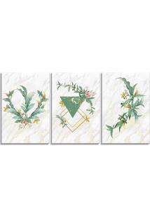 Quadro 60X120Cm Escandinavo Floral Mykonos Canvas Decoração