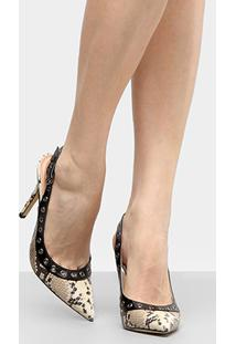 Scarpin Shoestock Salto Alto Cobra - Feminino-Creme+Preto