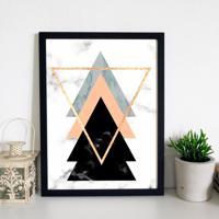a26400c4e Quadro Decorativo Com Moldura Escandinavo Triângulos Wevans