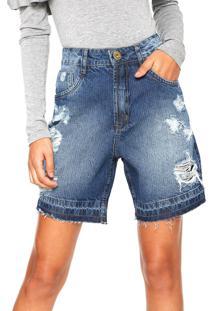 Bermuda Jeans Denuncia Destroyed Azul