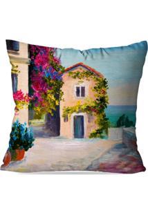 Capa De Almofada Avulsa Decorativa Pintura Casa 45X45Cm
