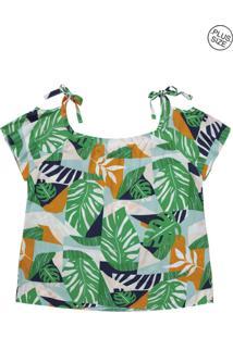 Blusa Lecimar Plus Em Viscose Rayon Alto Verão G3 Verde