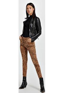 Calça De Sarja Skinny Basic High Estampa Cobra Estampa