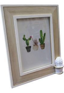 Porta Retrato Branco E Bege Para 1 Foto Cactus Spines Urban Home