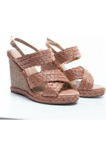 Sandália Plataforma Glendale Calf Antique - Feminino-Bege
