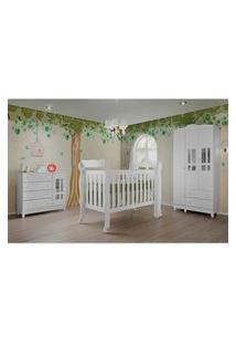 Dormitório Ariel Guarda Roupa 3 Portas Comoda Fraldário Rio Berço Lila Carolina Baby Branco
