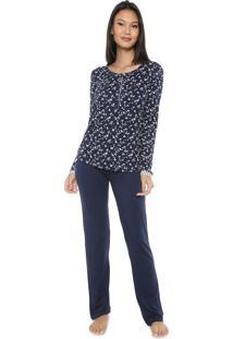 Pijama Any Any Lovely Girl Azul-Marinho
