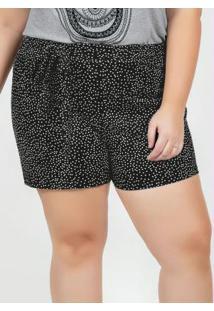 Short Poá Preto Amarração Na Cintura Plus Size
