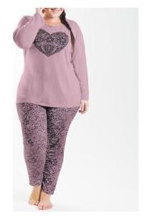 Pijama Longo Poliviscose Com Silk Laibel (15007705) Plus Size
