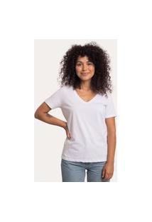 Camiseta Decote V Largo Algodão Sustentável Branca Branco