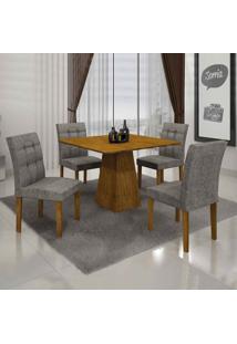 Conjunto De Mesa Com 4 Cadeiras Itália Iii Linho Canela E Cinza
