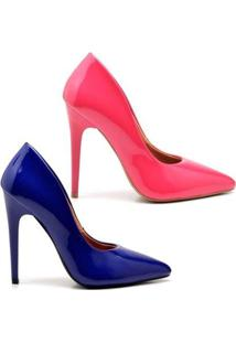 Kit 2 Pares De Scarpin Casual Salto Alto Verniz Ellas Online + Feminino - Feminino-Rosa+Azul