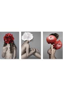 Quadro 60X120Cm Canvas Astra Mulher Com Flores Vermelha E Branca