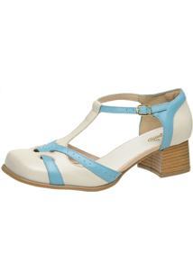 Sapato Retrô Bico Quadrado Dhl Feminino Off White E Azul - Kanui