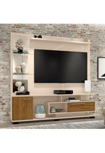 Estante Para Home Theater E Tv Até 60 Polegadas Tucson Off White E Cinamomo