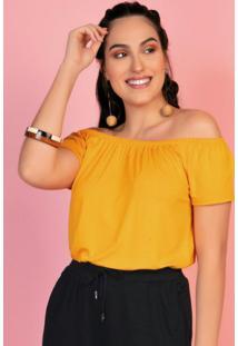 Blusa Ombro A Ombro Amarela Com Elástico Rovitex