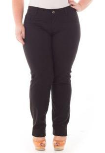 Calça Confidencial Extra Plus Size Jeans Tradicional Feminina - Feminino-Preto
