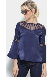 Blusa Top Moda Bata Acetinada Guipir Manga Longa Feminina - Feminino-Azul Escuro