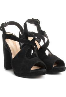 Sandália Couro Shoestock Salto Grosso Vazada Feminina - Feminino-Preto