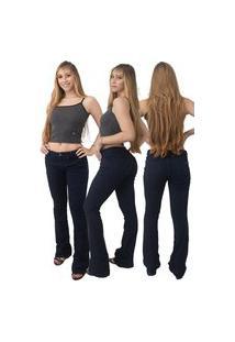 Calça Jeans Feminina Beloved Flare Indico Boca De Sino 1014 Azul