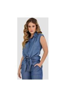 Blusa Jeans Zayon Detalhe Amarração Azul