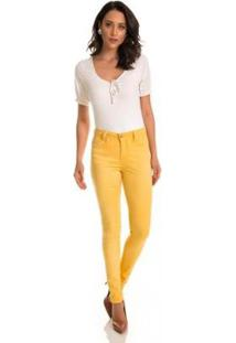 Calça Jeans Zait Skinny Color Amarela - Feminino