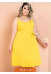 Vestido Curto Crepe Maresias Amarelo Plus Size