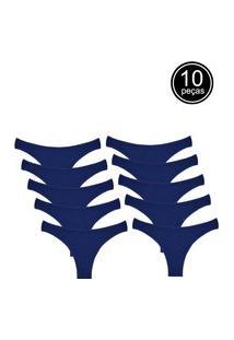 Kit Com 10 Calcinhas Conforto Part.B Fio Dental Azul