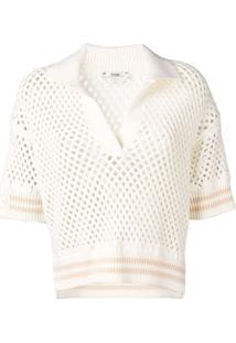 Fendi Camisa Polo De Crochê - Neutro