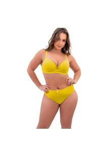 Conjunto Lingerie Sigh Plus Size Reforçado Amarelo
