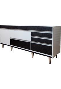 Gabinete Para Cozinha Em Mdf Viseu 86,5X180Cm Branco E Cromo