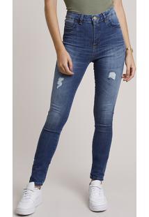 Calça Jeans Feminina Sawary Super Skinny Levanta Bumbum Cintura Alta Com Rasgos Azul Escuro