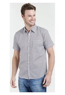 Camisa Masculina Estampa Quadriculada Manga Curta Marisa