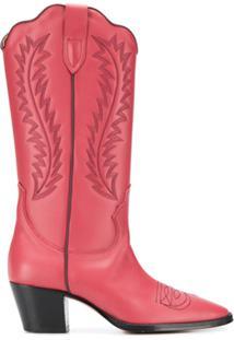 Paris Texas Bota Cowboy Com Bordado - Vermelho