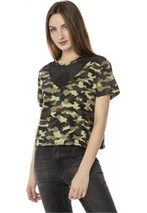 Camiseta T-Shirt Camuflada Decote Em Tela Pop Me Verde