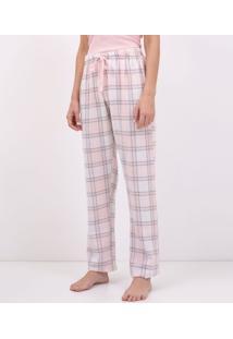 Calça De Pijama Em Flanela Xadrez