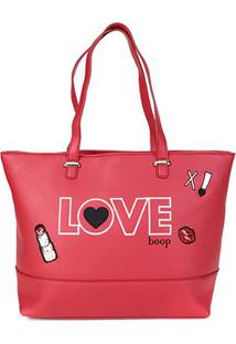 Bolsa Betty Boop Shopper Bordada Feminina - Feminino-Vermelho