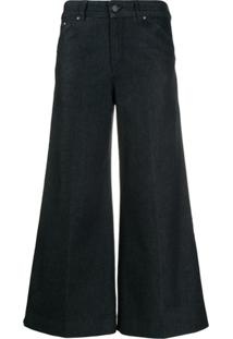 Karl Lagerfeld Pantacourt Jeans Com Efeito Desbotado - Azul