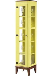 Cristaleira Remy 1 Porta Cor Amarelo Com Base Amêndoa 180 Cm - 62967 - Sun House