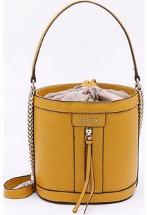 Bolsa Bucket Couro Amarelo Sol - M