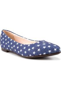 Sapatilha Moleca Estrelado Tecido Jeans Azul
