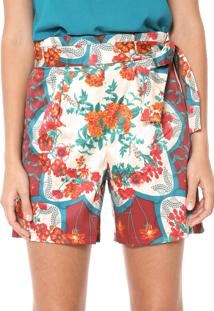 Short Mercatto Floral Off-White/Vinho