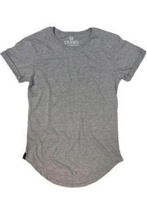 Camiseta Longline Stoned Lisa Masculina - Masculino-Cinza