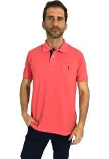 Camisa Polo Mister Fish Slim Basic Com Bolso Masculina - Masculino-Coral
