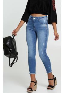 Calça Jeans Destroyed Cigarrete Feminina Strass Biotipo