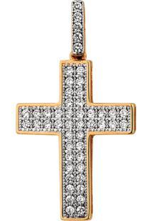 Pingente Joia Em Casa Cruz Em Ouro Cravejado Dourado - Dourado - Dafiti