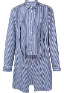 Comme Des Garçons Homme Plus Camisa Listrada Longa - Azul