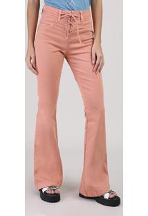 Calça Em Sarja Feminina Flare Cintura Média Com Amarração Rosa