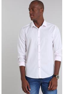 Camisa Masculina Slim Básica Manga Longa Rosa Claro